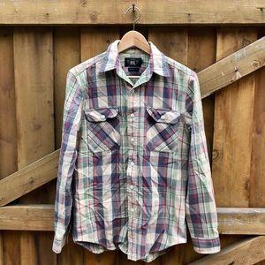 RRL Sz Small Flannel Button Down Plaid Shirt